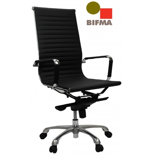Eames Replica Office Chair High Back Ribbed Black