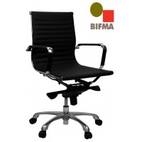 Eames Replica Office Chair Medium Back  Ribbed Black