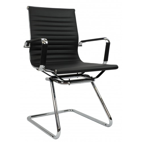 Eames Replica Office Chair Visitor  Medium Back Ribbed Black