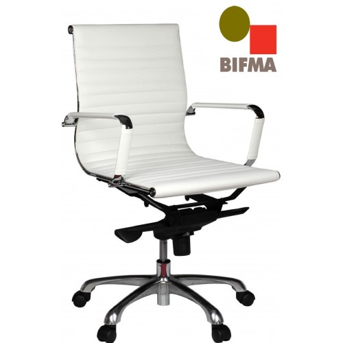 Eames Replica Office Chair Medium Back Ribbed White