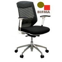 Vogue Executive Chair - White Frame Black Seat Mid Back Mesh Ergonomic