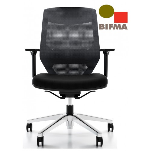 Vogue Executive Chair - Heavy Duty Aluminium Base Mid Back Mesh Ergonomic