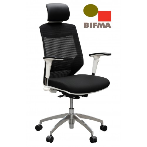 Vogue Executive Chair - White Frame Black Seat High Back Mesh Ergonomic