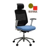 Vogue Executive Chair - White Frame Blue Seat High Back Mesh Ergonomic
