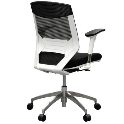 Vogue Executive Chair - White Frame Blue Seat Mid Back Mesh Ergonomic