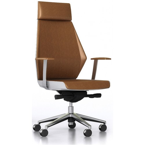 Summit Executive Chair - High Back Tan Leather
