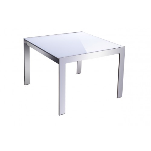 Forza Coffee Table - White Glass Top 600(L) x 600(W) x 450(H)