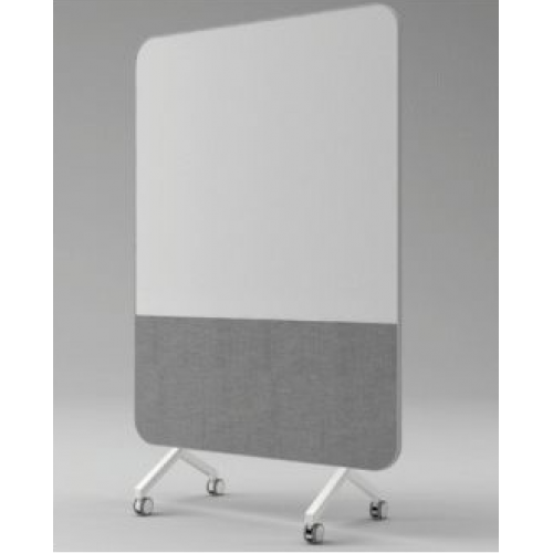 Curved Mobile Glass Whiteboard / Pinboard