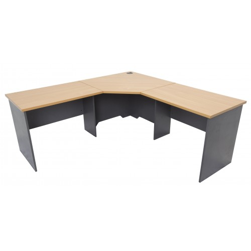 Workstation 3 Piece Corner Desk - Beech & Graphite