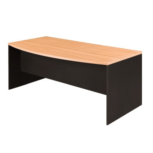 Bow Front Office Desk Beech and Graphite
