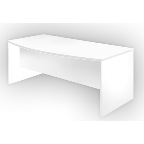 Bow Front Office Desk All White