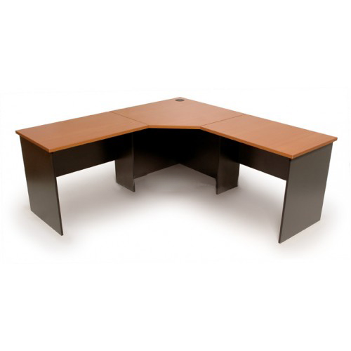 Workstation 3 Piece Corner Desk - Cherry & Graphite