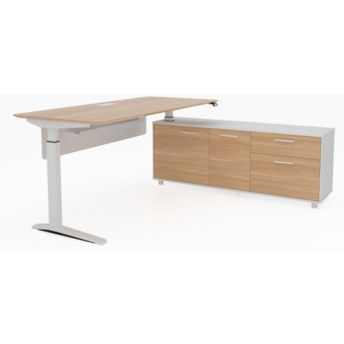 Potenza Height Adjustable Desk Birch and White
