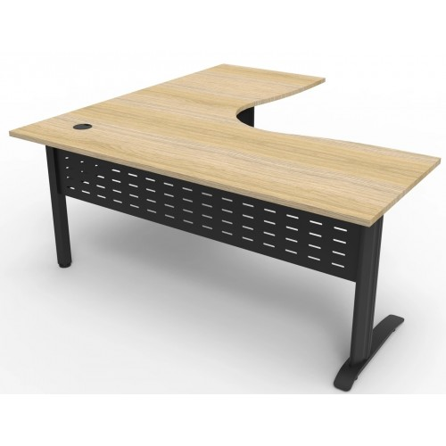 Deluxe Rapid Span Corner Workstation - Natural Oak Top with Choice of Bases