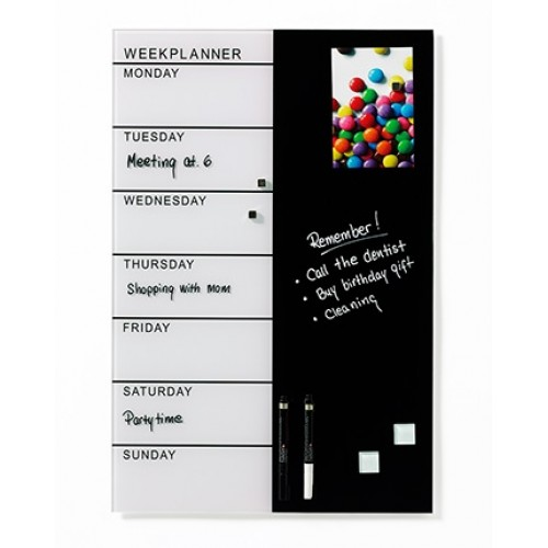Naga Designer Magnetic Glassboard Week Planner Black and White