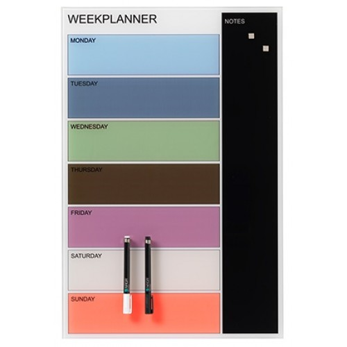 Naga Designer Magnetic Glassboard Week Planner Coloured