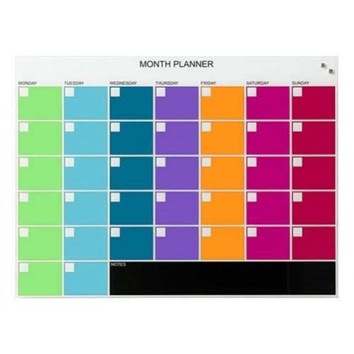 Naga Designer Magnetic Glassboard Month Planner 800mm x 600mm