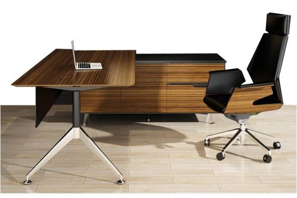 Novara Executive Desk in Zebrano Wood Veneer with Cabinet Return