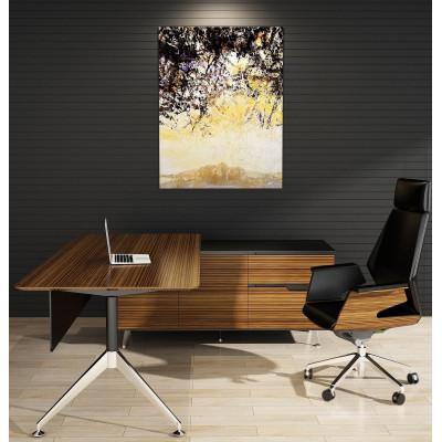 Novara Executive Desk in Zebrano Wood Veneer with Cabinet Return