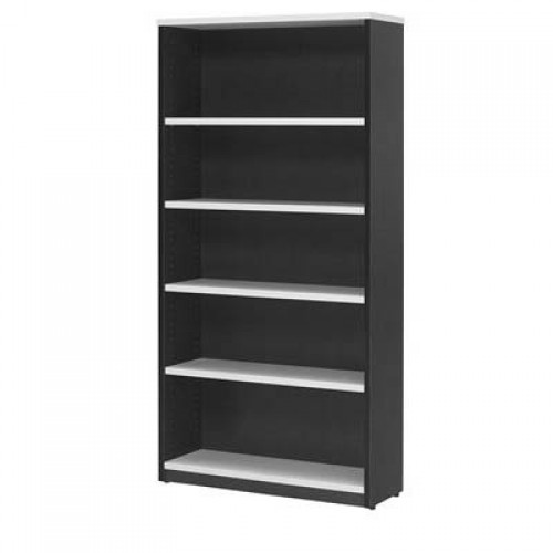 Bookcase in White and Graphite - 1800mm High