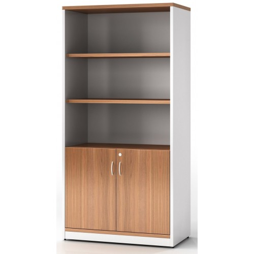 Cabinet Half Doors Lockable - Birch and White