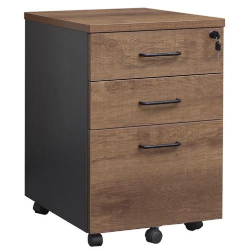 Pedestal Mobile 3 Drawer - Walnut and Graphite