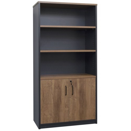 Cabinet Half Doors Lockable - Walnut and Graphite