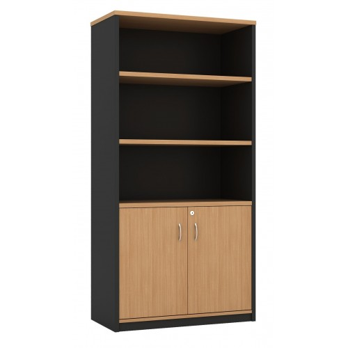 Cabinet Half Doors Lockable - Beech and Graphite