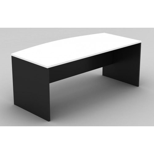 Bow Front Office Desk White and Graphite