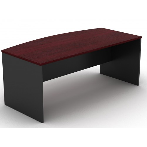Bow Front Office Desk Redwood and Graphite