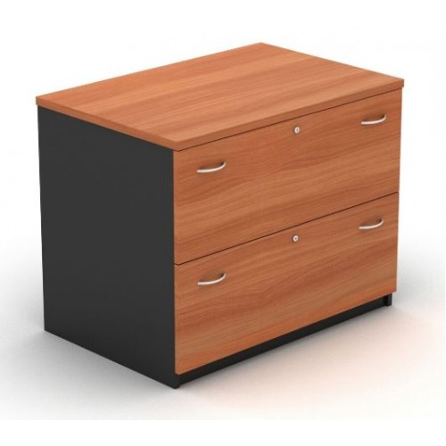 Lateral Filing Cabinet - 2 Drawer Cherry and Graphite