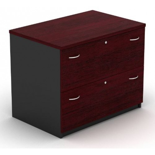 Lateral Filing Cabinet - 2 Drawer Redwood and Graphite