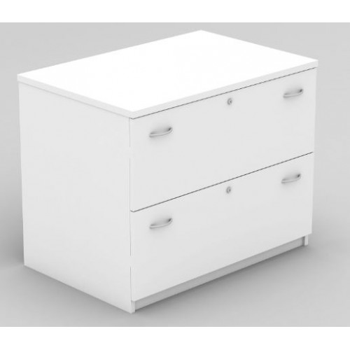 Lateral Filing Cabinet - 2 Drawer White