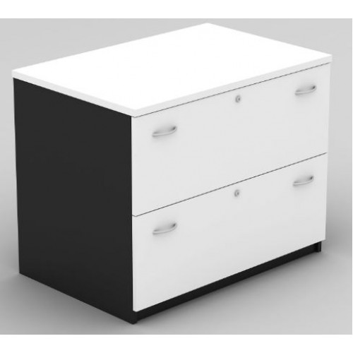 Lateral Filing Cabinet - 2 Drawer White and Graphite