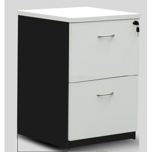 Filing Cabinet - 2 Drawer White and Graphite