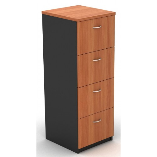 Filing Cabinet - 4 Drawer Cherry and Graphite