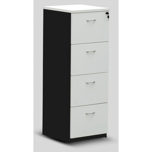 Filing Cabinet - 4 Drawer White and Graphite