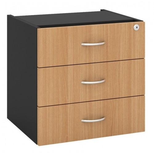 Desk Drawers -3 Drawers Beech & Graphite