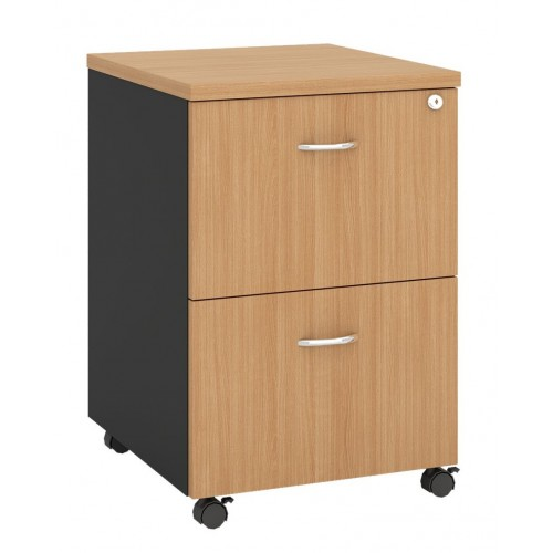 Pedestal Mobile 2 Drawer - Beech and Graphite