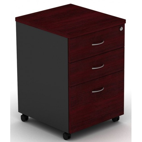 Pedestal Mobile 3 Drawer - Redwood and Graphite