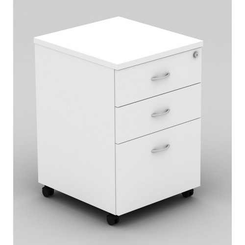 Pedestal Mobile 3 Drawer - All White