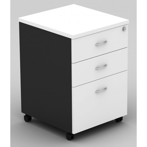 Pedestal Mobile 3 Drawer - White and Graphite