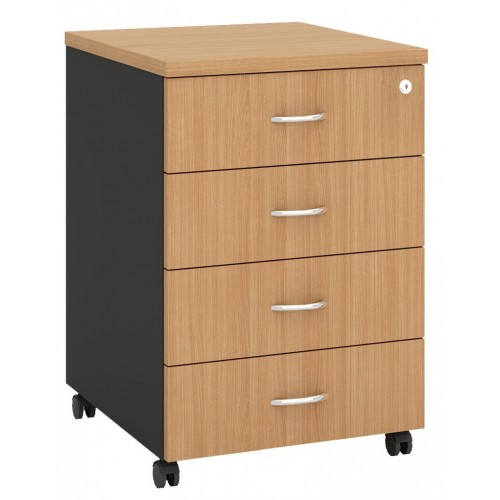 Pedestal Mobile 4 Drawer - Beech and Graphite