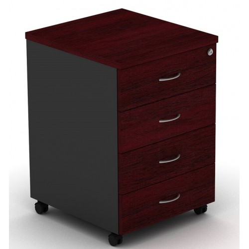Pedestal Mobile 4 Drawer - Redwood and Graphite