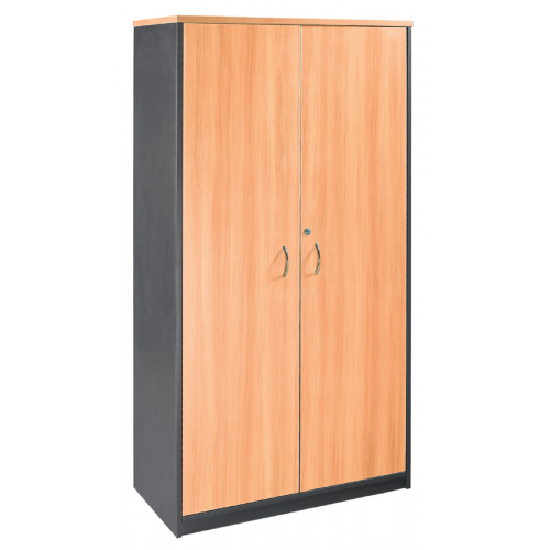 Cupboard Full Doors Lockable in Beech and Graphite