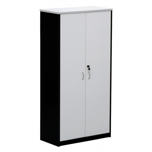 Cupboard Full Doors Lockable in White and Graphite