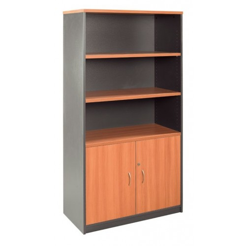 Cabinet Half Doors Lockable - Cherry and Graphite