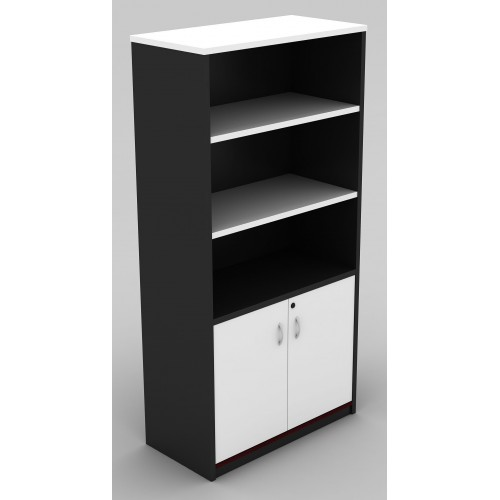 Cabinet Half Doors Lockable - White and Graphite