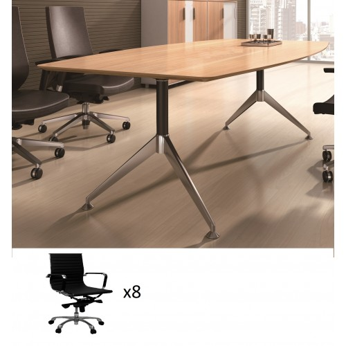 Potenza Boardroom Table 2.4m with 8 Chairs