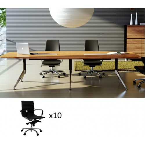 Novara Boardroom Table 3m Zebrano with 10 Chairs